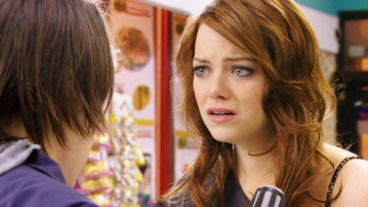 Emma Stone talks to someone else in Movie 43