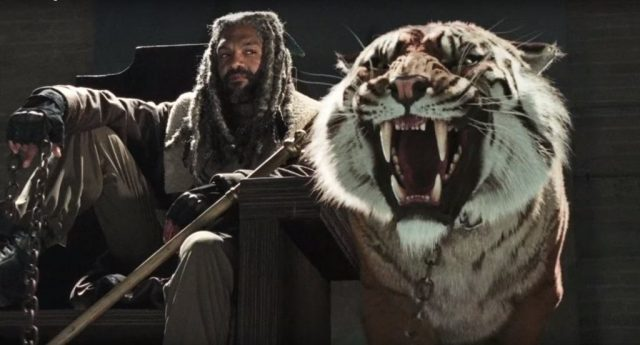 Ezekiel and his tiger in a scene from Season 7 of AMC's 'The Walking Dead'