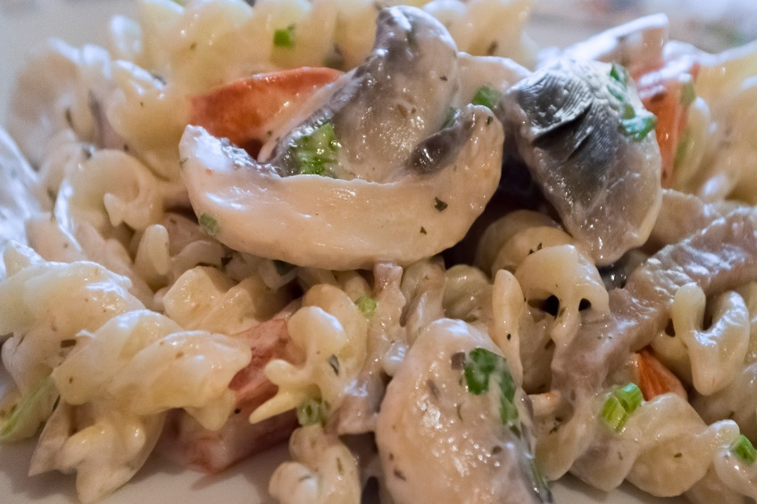Fusilli pasta with mushrooms