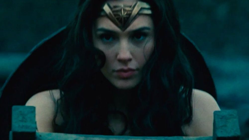 Gal Gadot in Wonder Woman looking very serious