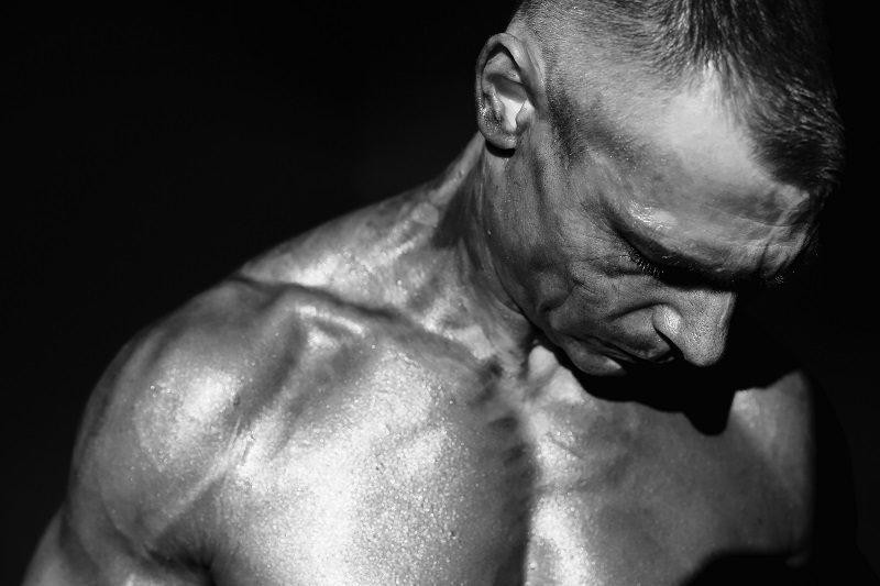 Bodybuilder Radek Malek of the Czech Republic prepares himself for the Body Building competition