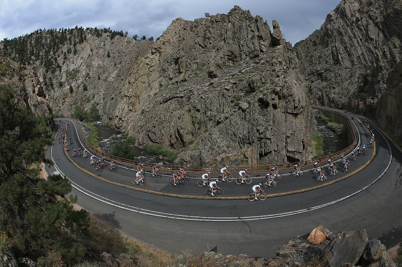 Cyclists in Big Thompson Canyon, near Fort Collins, Colorado