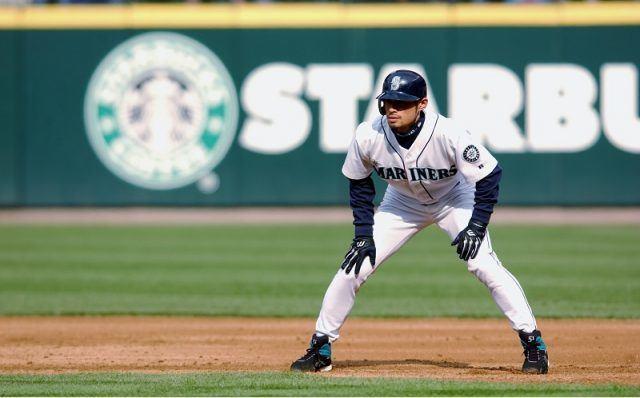 Ichiro Suzuki on the field for the marlins.