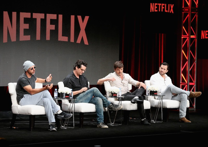 Jose Padilha, Wagner Moura, Pedro Pascal and executive producer Eric Newman   Frederick M. Brown/Getty Images