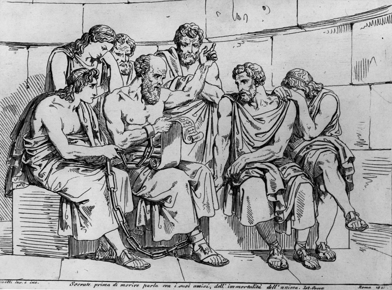 The Greek philosopher Socrates (469 - 399 BC) teaches his doctrines to the young Athenians