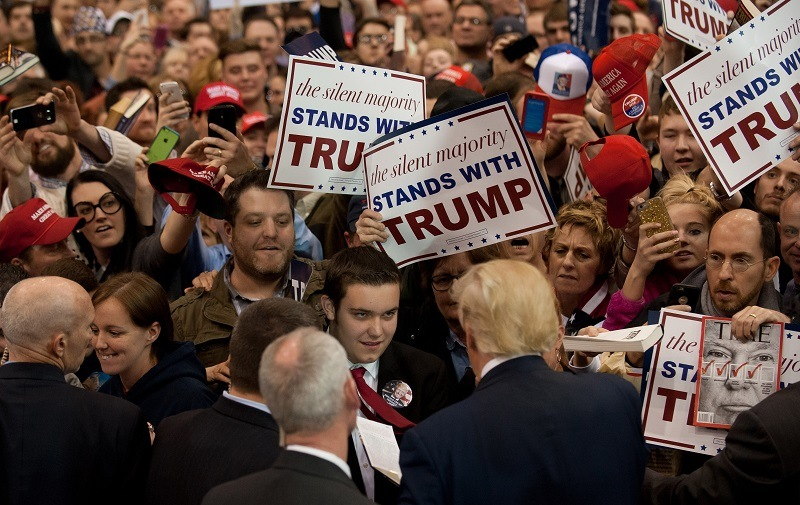 CLEVELAND, OH - MARCH 12: Republican presidential candidate Donald Trump signs autographs for guests gathered for a campaign event at the I-X Center March 12, 2016 in Cleveland, Ohio. (Photo by Jeff Swensen/Getty Images)