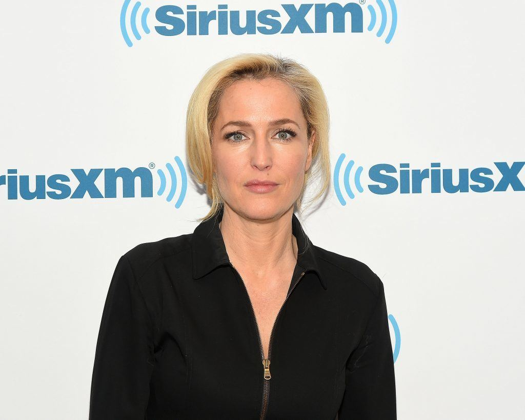 Gillian Anderson poses on the carpet at a SIrusXM event
