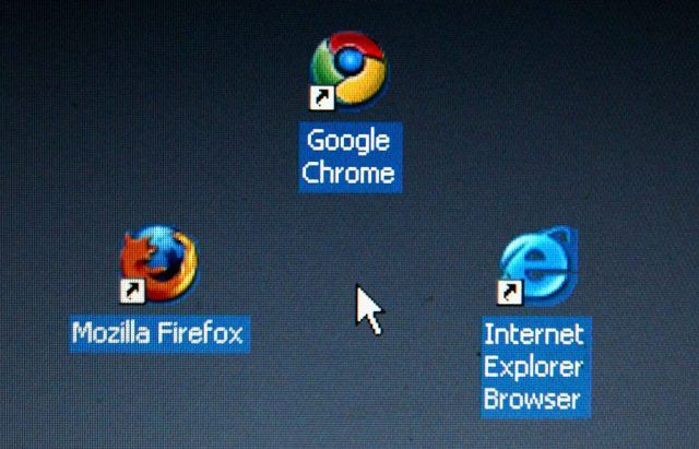 Google's Chrome browser shortcut, Google Inc.'s new Web browser, is displayed next to Mozilla Firefox shortcut and Microsoft's Internet Explorer browser shortcut