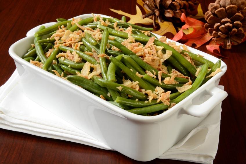 Green bean casserole in a white dish