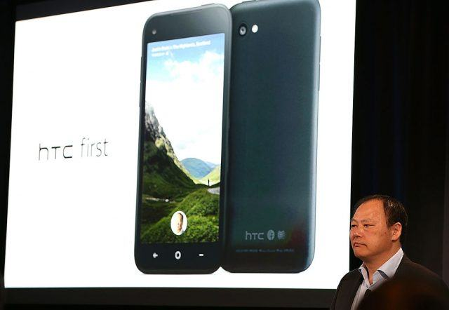HTC CEO Peter Chou presents the new HTC First phone