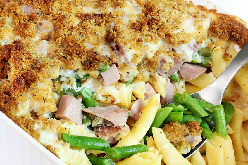 Ham, cheese and green bean casserole