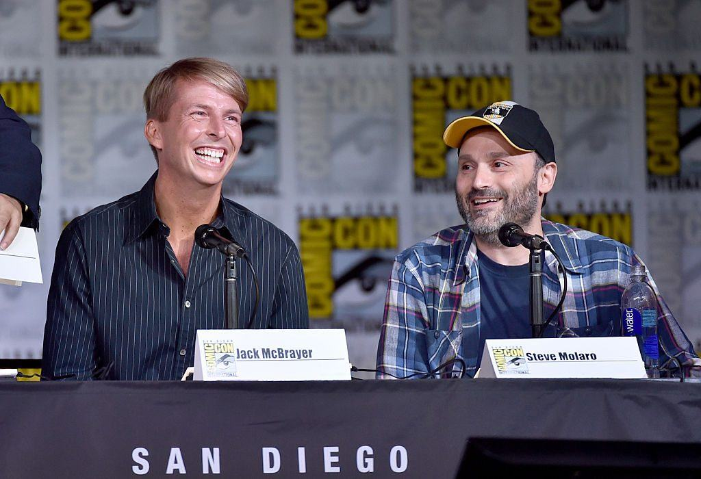"""Actor Jack McBrayer (L) and writer/producer Steven Molaro attend the Inside """"The Big Bang Theory""""   Alberto E. Rodriguez/Getty Images"""