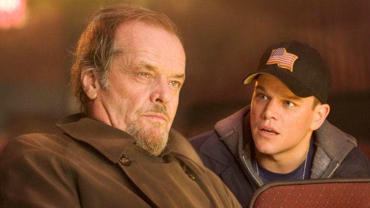 Matt Damon looking at Jack Nicholson in The Departed, while Nicholson looks ahead