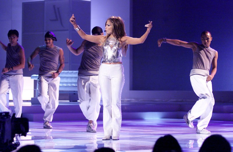 Jennifer Lopez performing at the '1999 VH1/Vogue Fashion Awards' at The Armory in New York City.