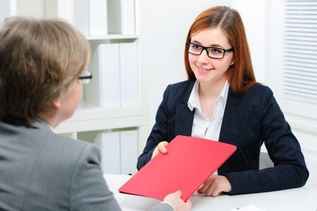 woman having interview