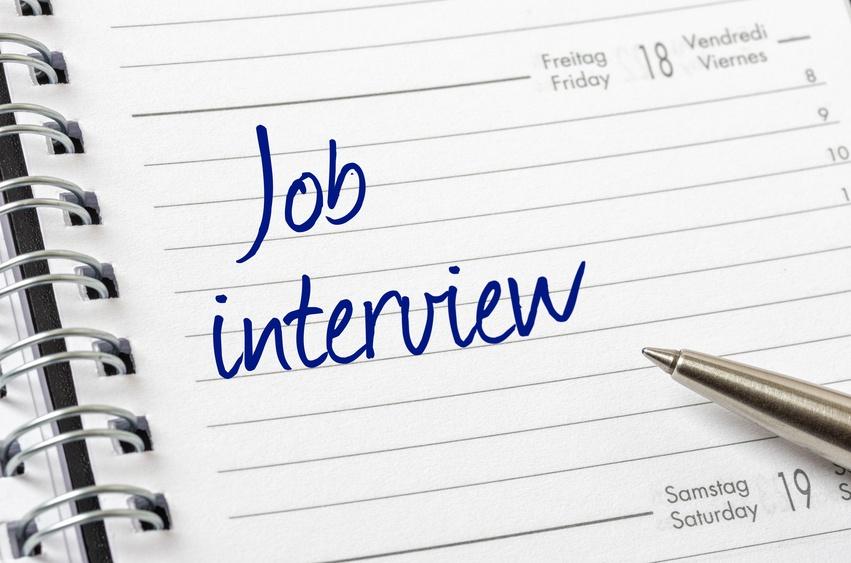 Job interview written on calendar
