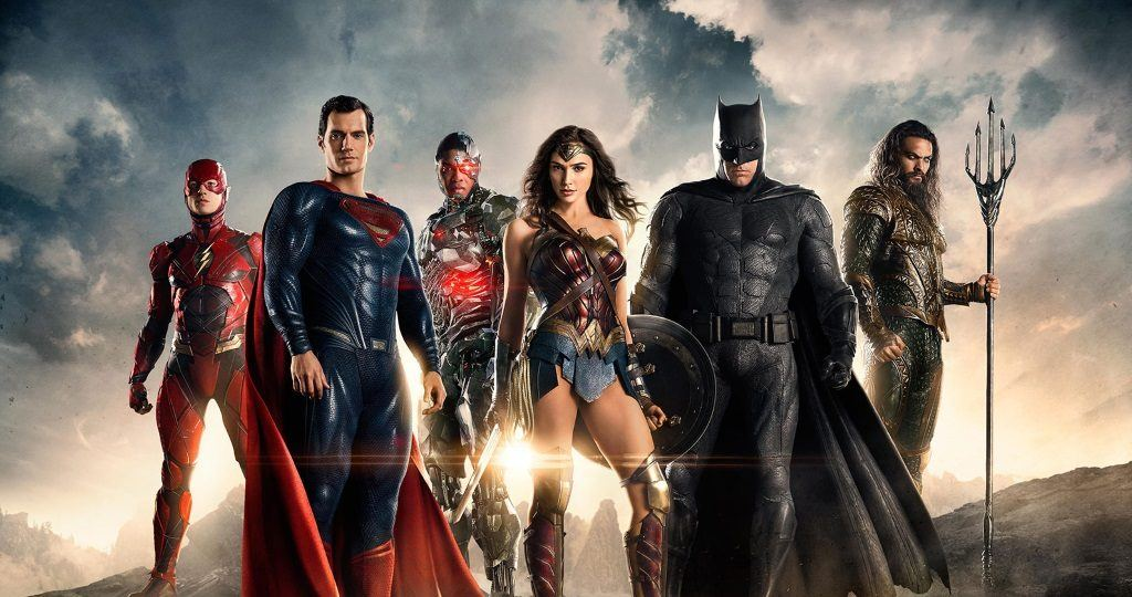 The full Justice League team standing together: the Flash, Superman, Cyborg, Wonder Woman, Batman, and Aquaman