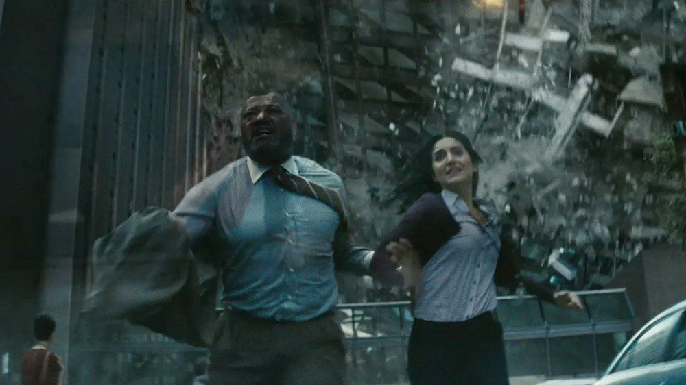 Laurence Fishburne and Rebecca Buller in Man of Steel