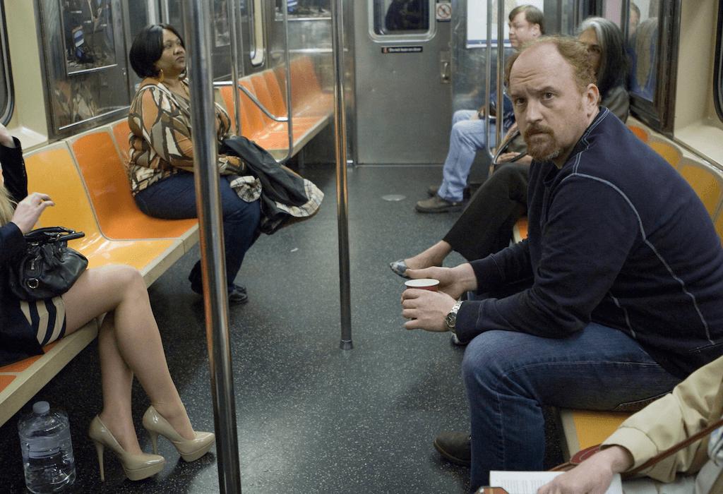 Louie on a subway train