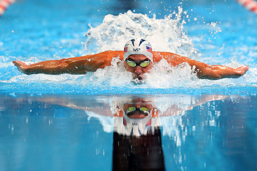 Michael Phelps swimming in the Olympics