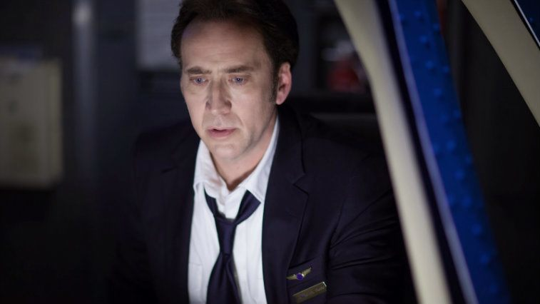 Nicolas Cage looks shocked in Left Behind