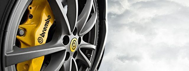 A close-up of the OEM Brembo Brakes on a Porsche