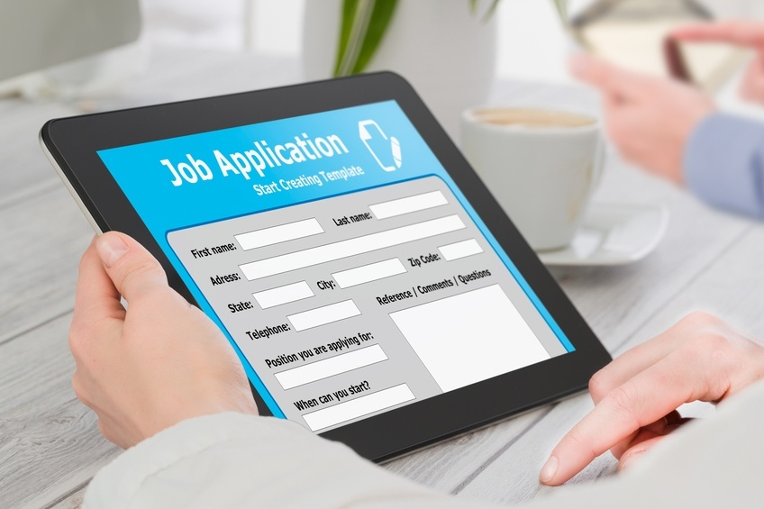 Online job searching on tablet