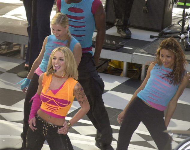 Pop star Britney Spears performs on NBC's 'Today' show June 30 2000, in New York's Rockefeller Center. 'Today' holds concerts outside its studio every Friday during the summer. (Photo by Chris Hondros/Newsmakers)