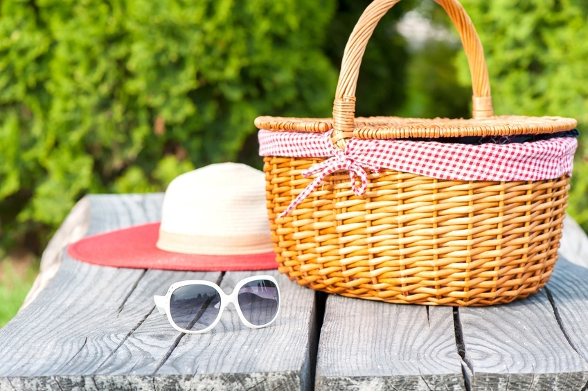 Sunglasses hat and wicker basket.