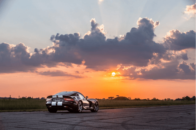 Hennessey Viper at sunset