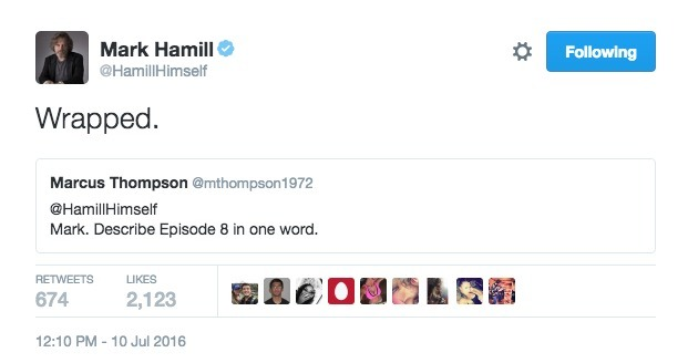 Mark Hamill Tweets about Episode VIII wrapping