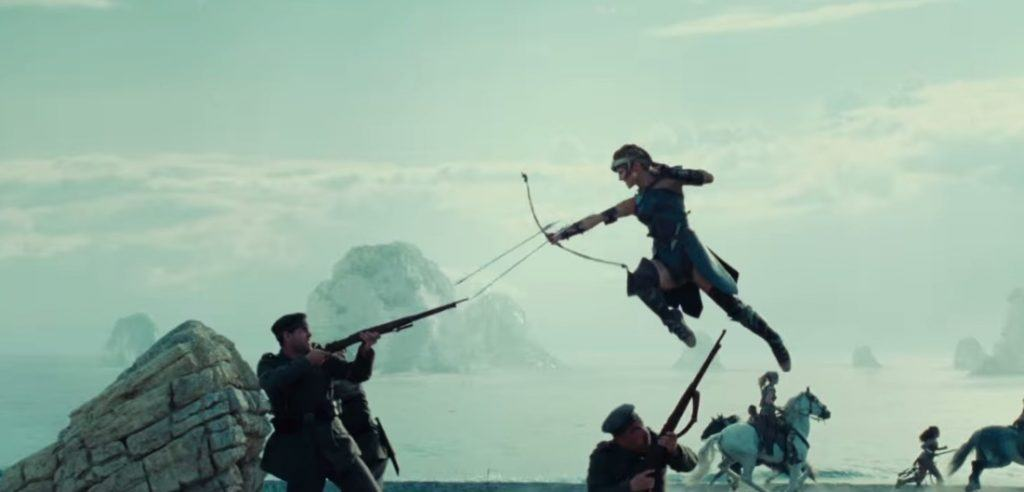 Amazon warrior jumping into the air aiming a bow and arrow at a soldier with a gun