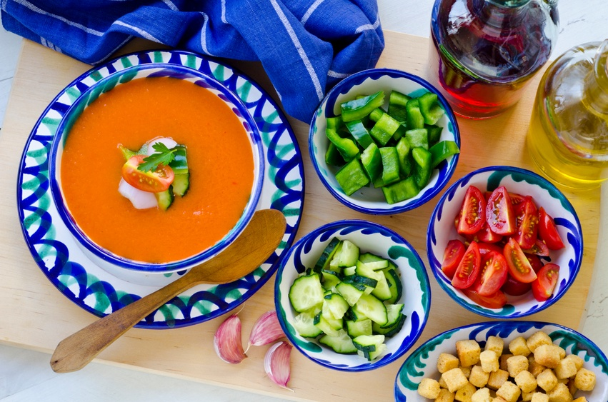 Spanish gazpacho and its ingredients
