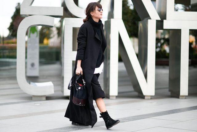 Fashionable woman in black