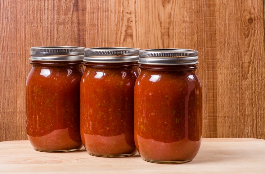 Three jars of tomato sauce