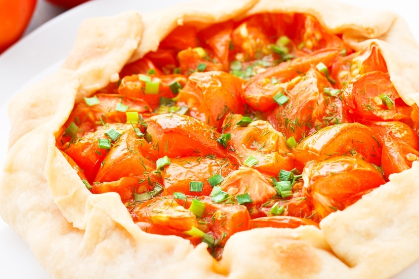 Close up of tomato galette