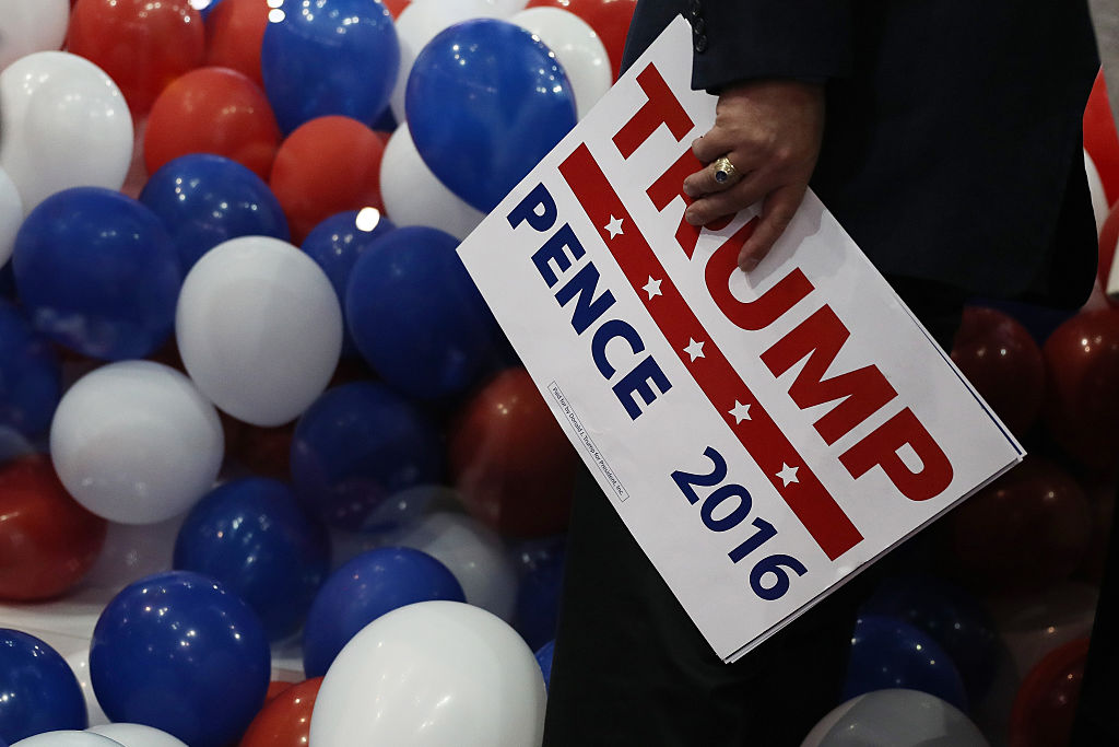 A campaign sign at a rally