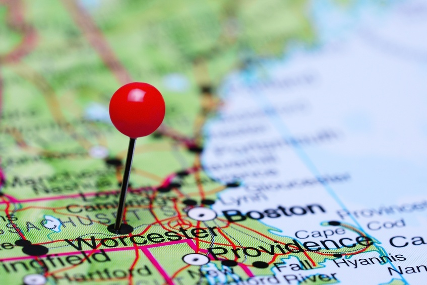pinned Worcester on a map