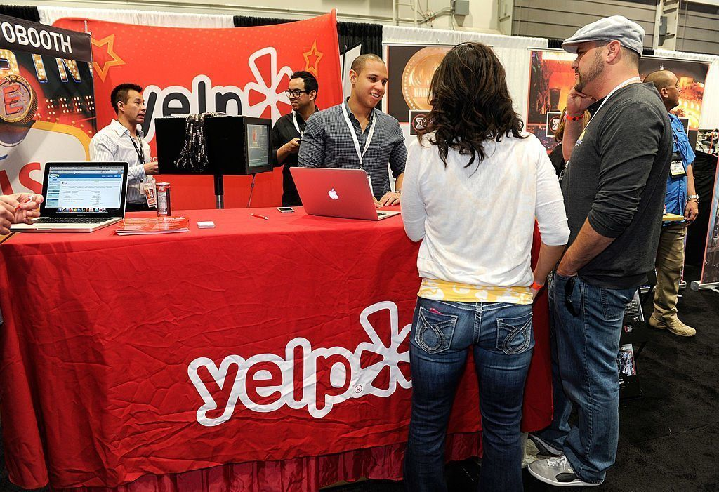 Yelp logo and table