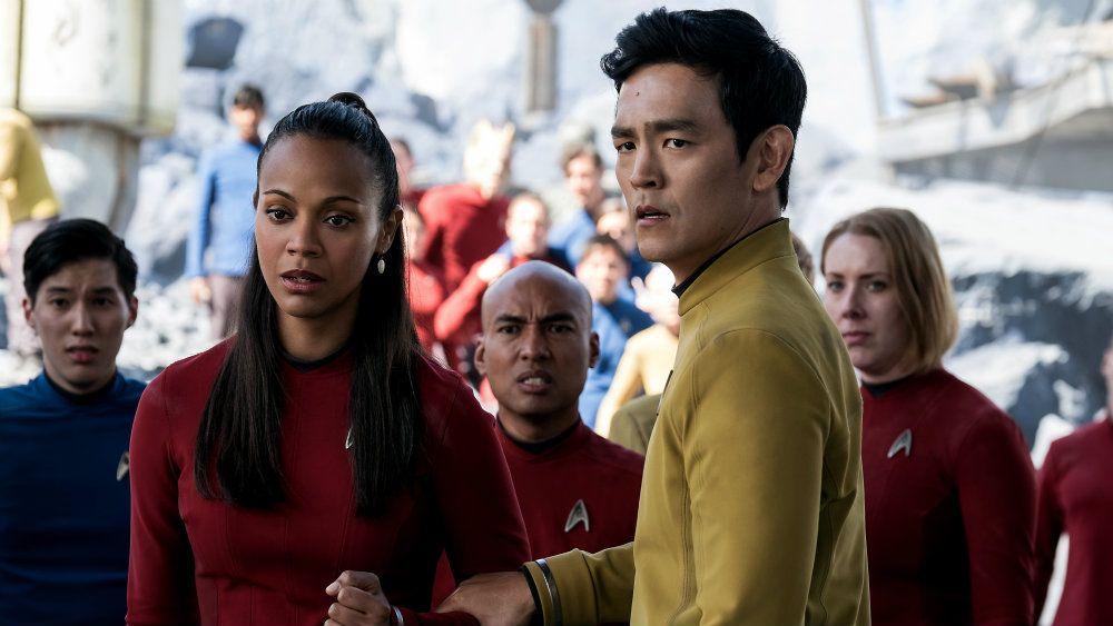 Zoe Saldana and John Cho in Star Trek Beyond