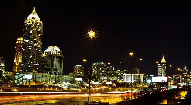 Atlanta skyline at night, where there's little hope to legalize marijuana currently