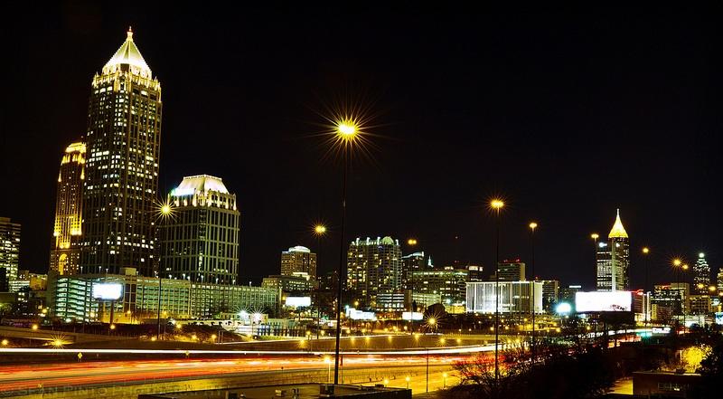 Atlanta's skyline at night