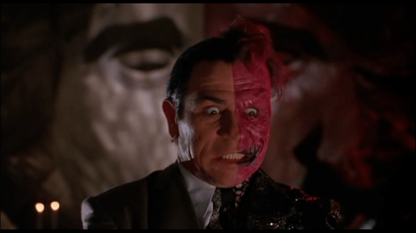 Two Face, a Batman villain and physical embodiment of split authenticity
