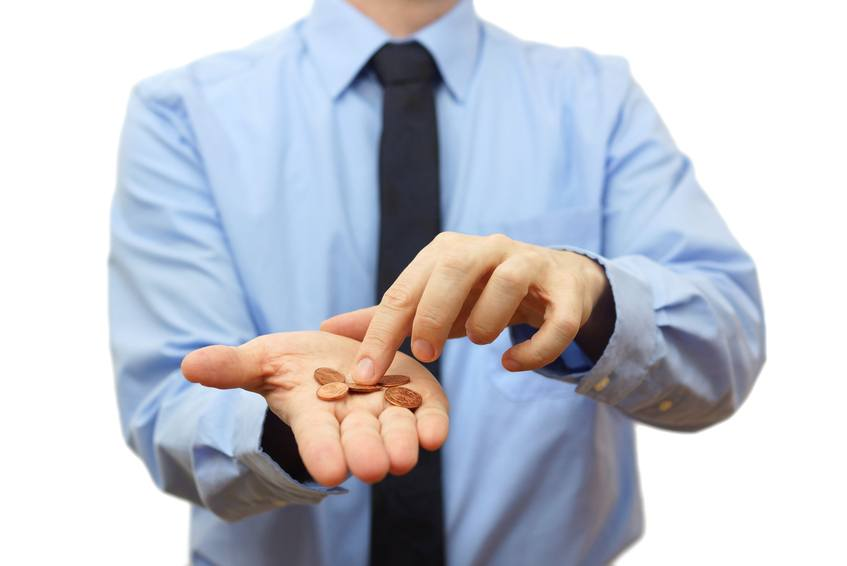 A man counting out coins