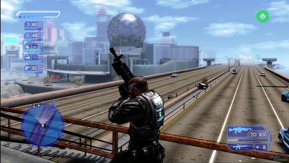 Crackdown hero standing on an overpass.