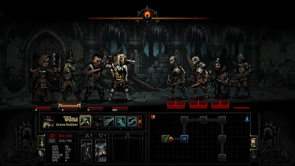 Adventurers fighting monsters in a dungeon.