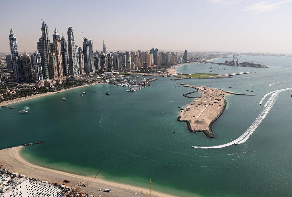The skyline of Dubai in the United Arab Emirates