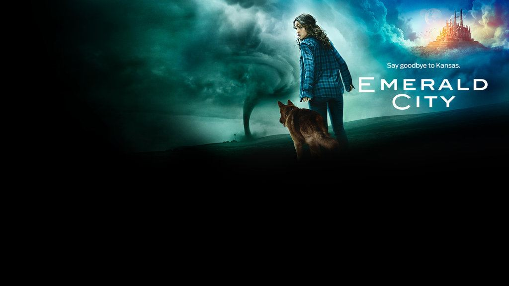 Dorothy and her dog stand in front of a tornado in a promotional poster for Emerald City