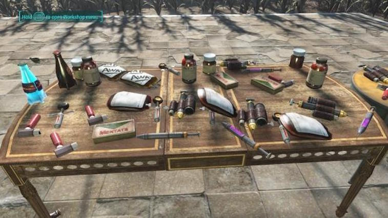 A table full of chems in Fallout 4.