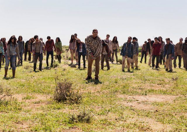 A hoard of walkers approach in a scene from Season 2 of AMC's 'Fear the Walking Dead'